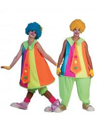 Paar Clowns -Kostüm neon für Erwachsene