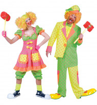 Paarkostüm Clown neon für Erwachsene!