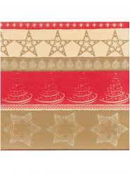 Beige-rote Weihnachts-Servietten