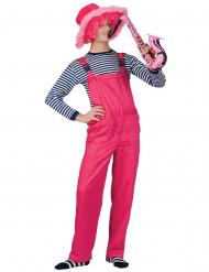 Neon-Latzhose Overall für Erwachsene pink