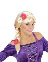 Perücke blond mit Flechte und Blumen für Damen