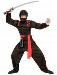 Ninja Kinderkostüm für Jungen schwarz-rot