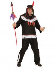 Indianerkostüm für Männer schwarz-weiss-rot