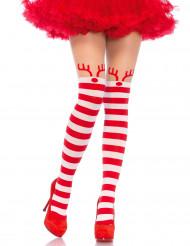 Rentier-Strumpfhose für Weihnachten gestreift rot-weiss