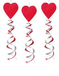 3 Dekospiralen Herzen rot-silber