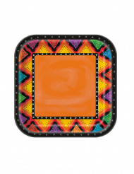 8 Pappteller Zickzack Mexiko bunt 22 cm