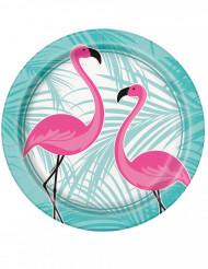 8 Pappteller Flamingo rosa-türkis 22 cm