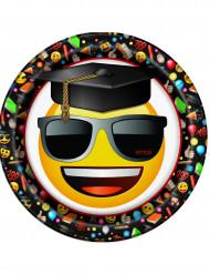 8 Pappteller Emoji™ 21,9 cm gelb-schwarz