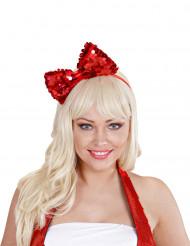 Haarreif mit Pailletten-Schleife für Erwachsene rot