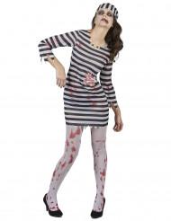 Zombie Häftlingskostüm für Damen
