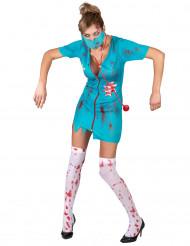 Kostüm Zombie Krankenschwester für Damen grün