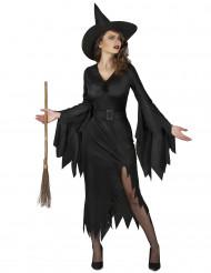 Hexen-Damenkostüm für Halloween schwarz