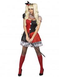 Rot-schwarzes Harlekinkostüm für Damen
