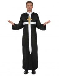 Priester Kostüm mit weissem Kreuz für Herren