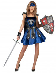 Kostüm Ritterin blau schwarz für Damen