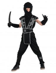 Ninja Kostüm für Jungen schwarz-silberfarben