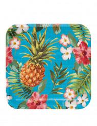8 große Pappteller Hawaii-Motiv bunt 23 cm