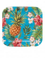 8 kleine Pappteller Hawaii-Motiv 17 cm