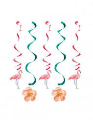 5 Hängespiralen Flamingos und Blumen bunt
