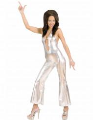 Kostüm Disco silber für Damen