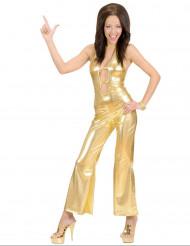 Disco-Kostüm Overall für Damen gold
