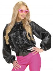 Schwarze Bluse mit Rüschen für Damen
