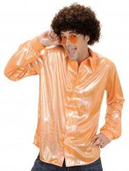 Glänzendes Disco-Hemd für Herren orange