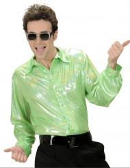 Glänzendes Disco-Hemd für Herren grün