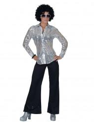 Disco Hemd silber mit Pailletten für Damen