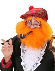 Schottische Tellermütze mit Perücke und Bart