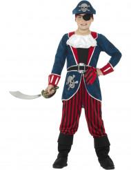 Kapitän Piraten-Kostüm blau und rot für Jungen