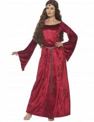 Mittelalterliche Königin Damenkostüm dunkelrot