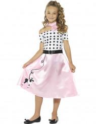 50er-Jahre Mädchen-Kostüm Tanzkleid rosa-weiss-schwarz