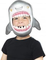Lustige Haifischmaske für Kinder Kostüm-Zubehör grau-rosa