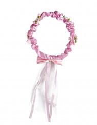 Blüten-Krone rosa mit Band für Mädchen