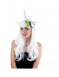 Einhorn Perücke mit Hörnern und Ohren für Damen