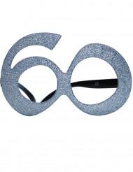 60. Geburtstag Spaßbrille für Erwachsene silber