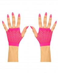 Fingerlose Netzhandschuhe für Erwachsene neonpink