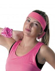 Kopfband Neonrosa 80er für Erwachsene