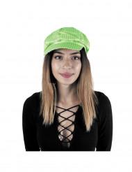 Disco - Mütze neongrün mit Pailletten für Erwachsene