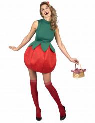 Knackiges Erdbeerkostüm für Damen Obst rot-grün