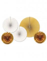 Rosetten aus Papier Raumdekoration 5 Stück weiss-gold