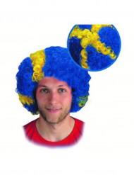 Schweden Afro-Perücke für Erwachsene blau-gelb