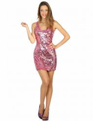 Sexy Disco-Kostüm Paillettenkleid für Damen rosa