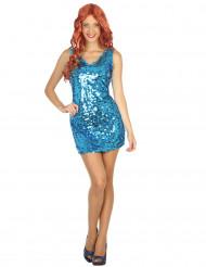 Sexy Disco-Kostüm Paillettenkleid für Damen blau