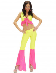 Sexy Discokostüm neongelb und rosa für Damen