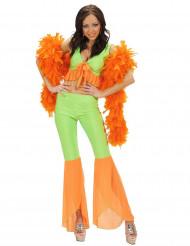 Sexy Disco-Kostüm Neonfarben für Damen