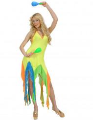 Kostüm brasilianische Tänzerin Neongelb für Damen