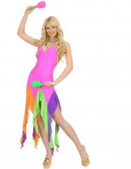 Kostüm brasilianische Tänzerin Neonrosa für Damen
