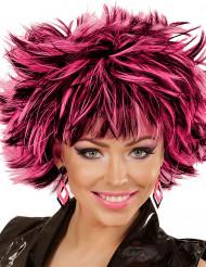 80er Ohrringe Rauten für Damen rosa-schwarz